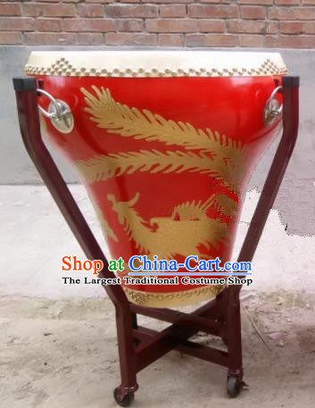 Chinese Traditional Handmade Drums Folk Dance Lion Dance Drum Printing Dragon Phoenix Red Cowhide Drums