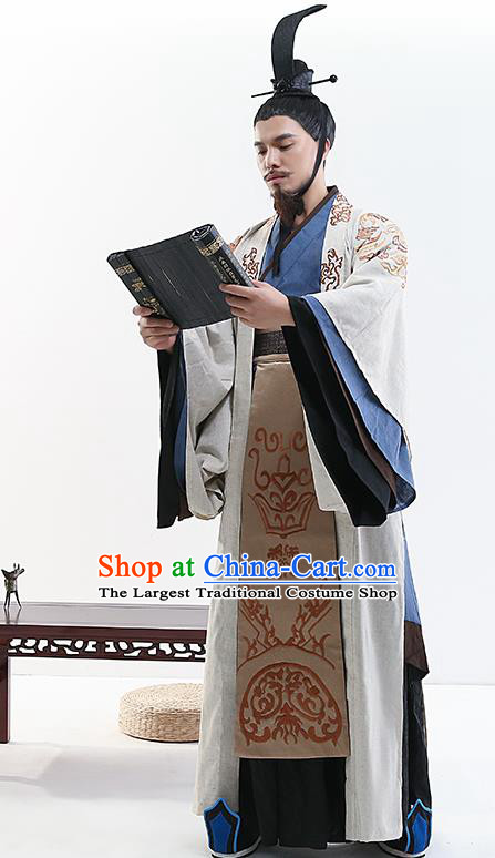 Chinese Ancient Drama Swordsman Costume Traditional Qin Dynasty Prime Minister Costumes for Men