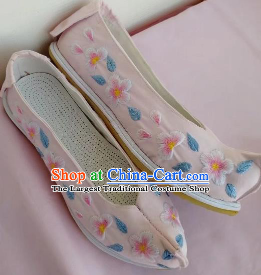 Chinese Traditional Hanfu Shoes Pink Embroidered Shoes Handmade Cloth Shoes for Women