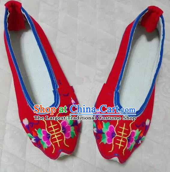 Chinese Traditional Hanfu Shoes Ancient Princess Red Embroidered Shoes Handmade Cloth Shoes for Women