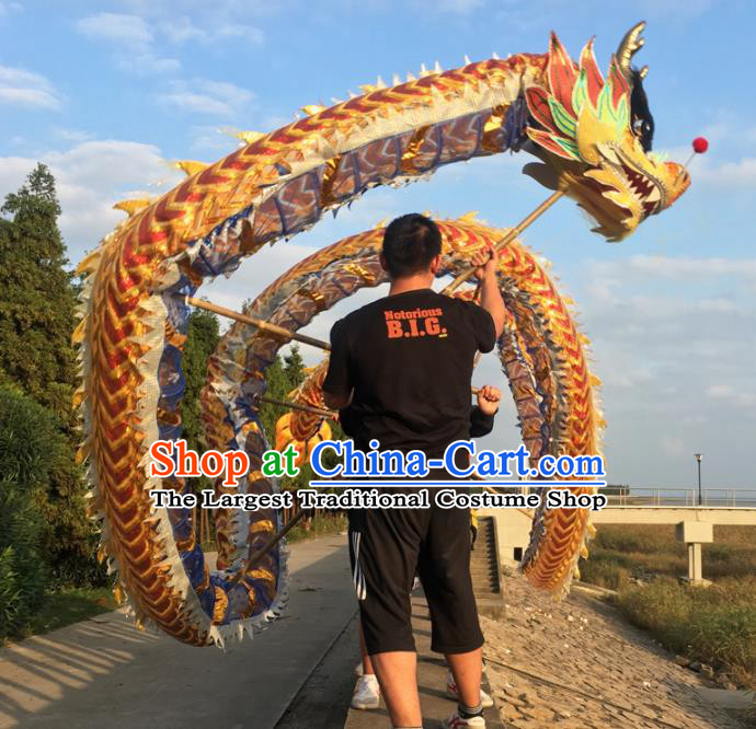 World Dragon Dance Competition Golden Dragon Head Chinese Traditional Dragon Dance Costumes Complete Set for Adult