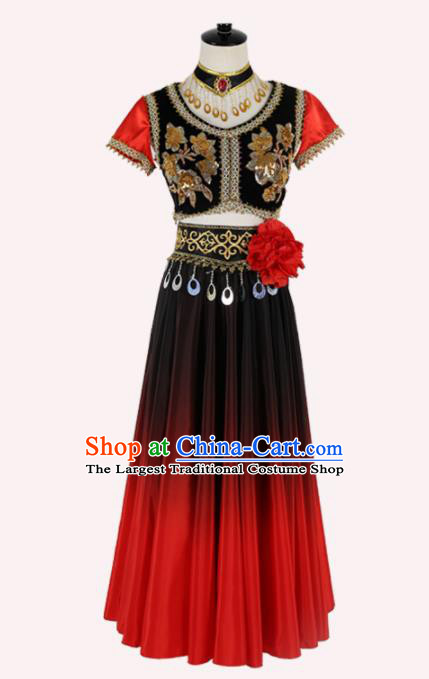 Chinese Ethnic Minority Embroidered Dress Traditional Uyghur Nationality Folk Dance Costume for Women