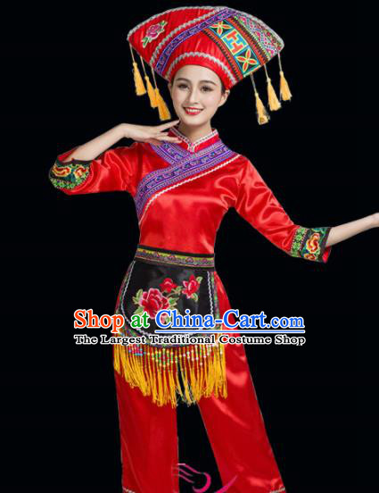 Chinese Yi Ethnic Minority Red Embroidered Clothing Traditional Zhuang Nationality Folk Dance Costumes for Women