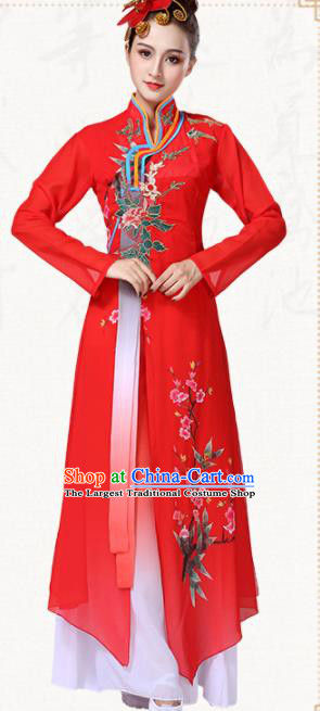 Chinese Traditional Classical Dance Group Dance Red Dress Umbrella Dance Costumes for Women