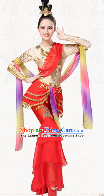 Chinese Traditional Classical Dance Group Dance Red Dress Folk Dance Umbrella Dance Costumes for Women