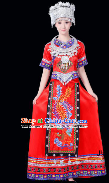 Chinese Ethnic Minority Red Dress Traditional Miao Nationality Folk Dance Costumes for Women