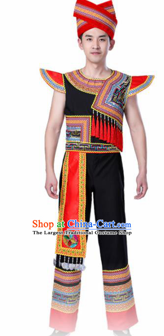 Chinese Traditional Zhuang Minority Folk Dance Clothing Ethnic Dance Costumes for Men