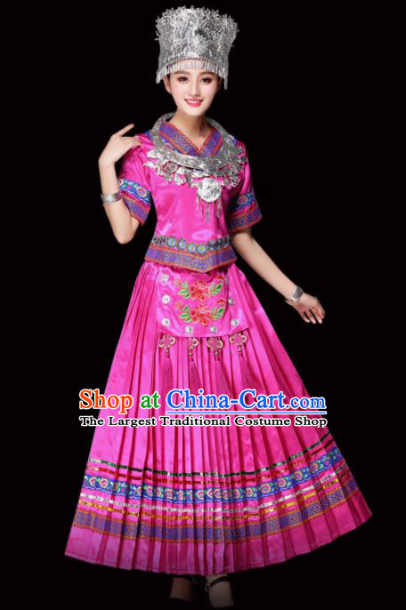 Chinese Miao Ethnic Minority Embroidered Pink Dress Traditional Hmong Nationality Folk Dance Costumes for Women