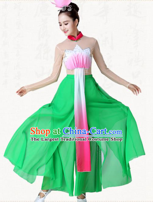 Chinese Traditional Classical Dance Green Dress Lotus Dance Group Dance Costumes for Women