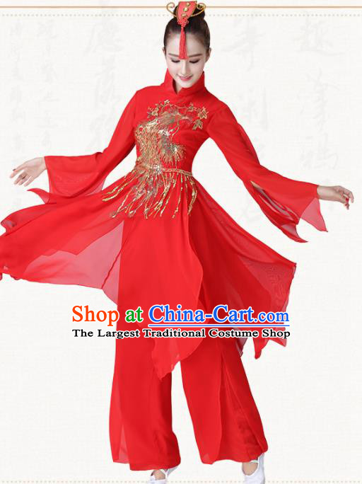 Chinese Traditional Classical Dance Red Dress Fan Dance Group Dance Costumes for Women