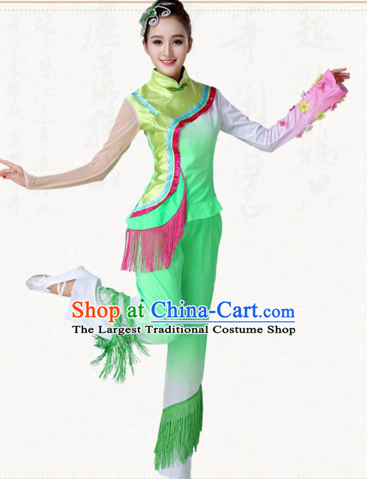 Chinese Traditional Classical Dance Yangko Green Dress Fan Dance Group Dance Costumes for Women