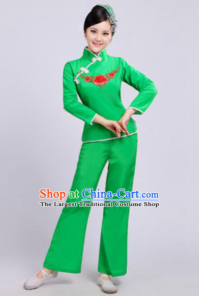 Traditional Chinese Folk Dance Fan Dance Costumes Yanko Dance Group Dance Green Clothing for Women