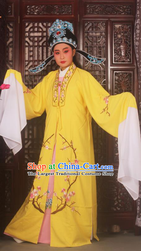 Top Grade Chinese Beijing Opera Costumes Peking Opera Niche Embroidered Yellow Robe for Adults