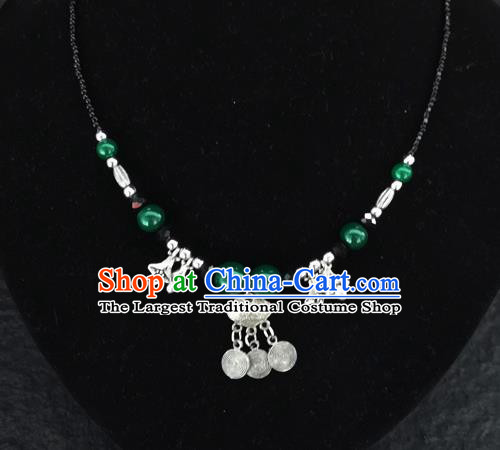 Chinese Traditional Jewelry Accessories Yunnan National Longevity Lock Pendant Green Beads Necklace for Women