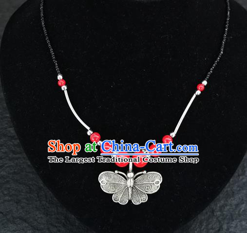 Chinese Traditional Jewelry Accessories Yunnan National Butterfly Pendant Red Beads Necklace for Women