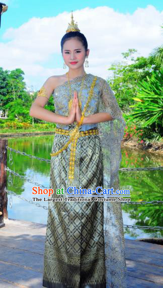 Asian Traditional Thailand Costumes National Handmade Embroidered Blue Dress for Women