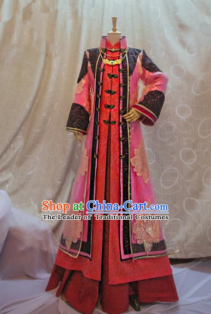 Ancient Traditional China Cosplay Qing Dynasty Imperial Concubine Costumes Complete Set for Women