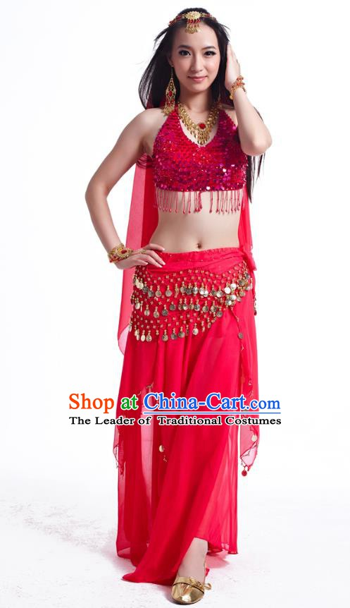 Indian Belly Dance Costume Oriental Dance Rosy Dress, India Raks Sharki Bollywood Dance Clothing for Women