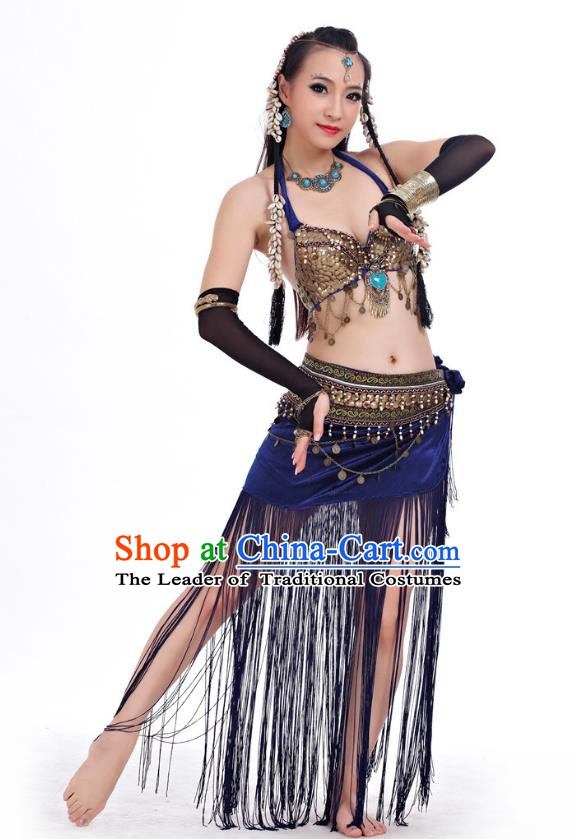 Asian Indian Belly Dance Primitive Tribe Dance Blue Costume India Bollywood Oriental Dance Clothing for Women