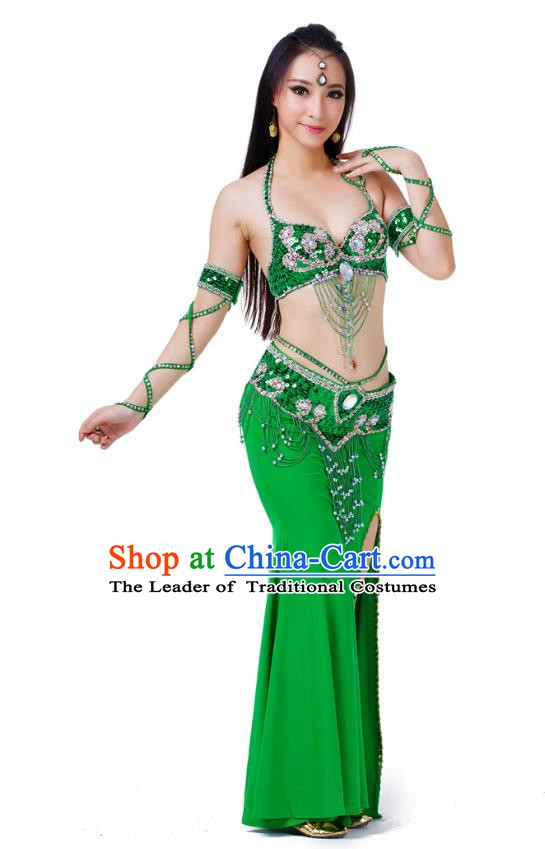 Indian Traditional Belly Dance Green Dress Asian India Sexy Oriental Dance Costume for Women
