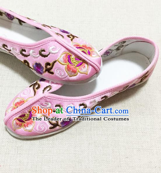 Asian Chinese Shoes Wedding Shoes Princess Shoes, Traditional China Handmade Hanfu Pink Embroidered Shoes