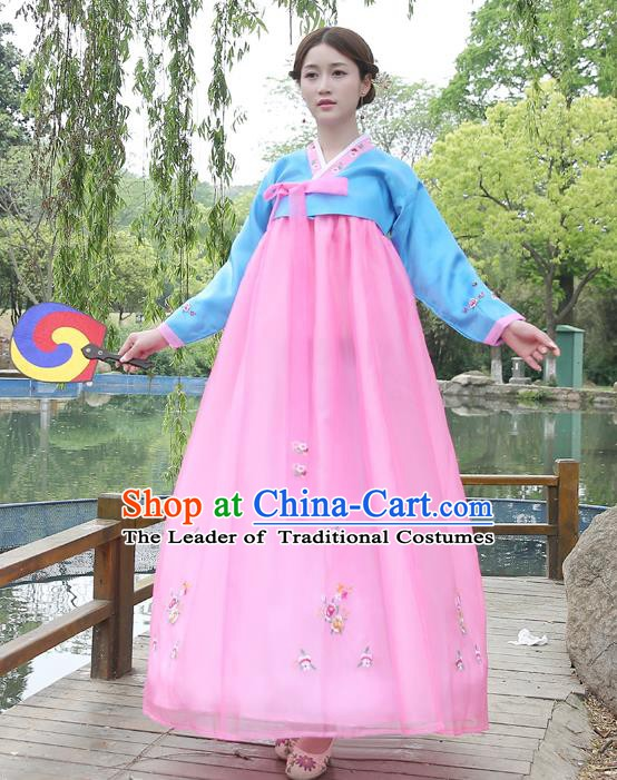 6ee68a420 Asian Korean Court Costumes Traditional Korean Bride Hanbok Clothing Blue  Blouse and Pink Dress for Women