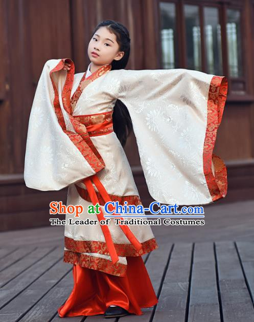 Children/'s Costumes Kids Girls Han Chinese Clothing Red Princess Silk Dress