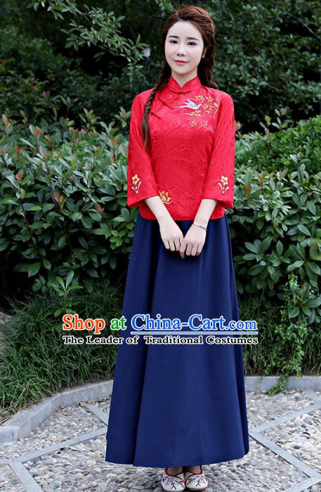 Traditional Republic of China Nobility Lady Costume Embroidered Cheongsam Red Blouse and Navy Skirts for Women