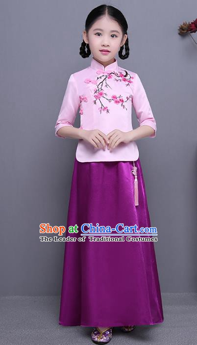 Traditional Republic of China Nobility Lady Costume Embroidered Cheongsam Pink Blouse and Purple Skirts for Kids