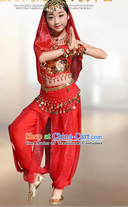 bedfbc0cef Traditional Indian National Belly Dance Red Clothing India Oriental Dance  Costume for Kids