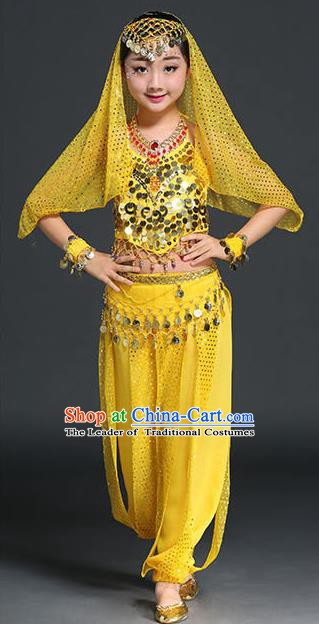 Traditional Indian National Belly Dance Yellow Clothing India Oriental Dance Costume for Kids