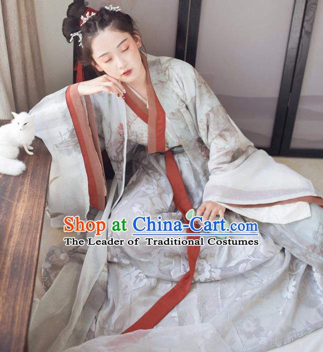 Chinese Ancient Jin Dynasty Princess Costume Complete Set Embroidered Hanfu Dress for Women