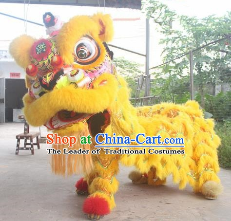 Chinese Traditional Parade Yellow Southern Lion Head Professional Wool Lion Dance Costumes Complete Set