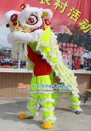 Chinese Traditional Parade Green Southern Lion Head Professional Wool Lion Dance Costumes Complete Set