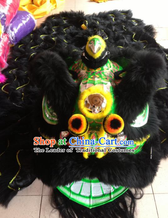 Chinese Professional Lion Dance Costumes Celebration and Parade Black Wool Lion Head Complete Set