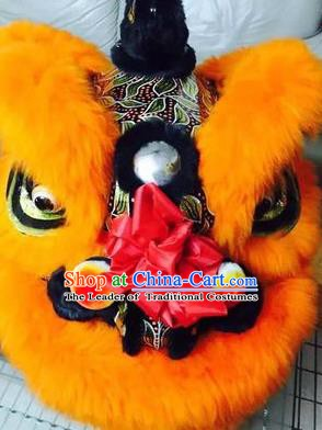 Chinese Traditional Professional Orange Wool Lion Dance Costumes Celebration and Parade Lion Head Complete Set
