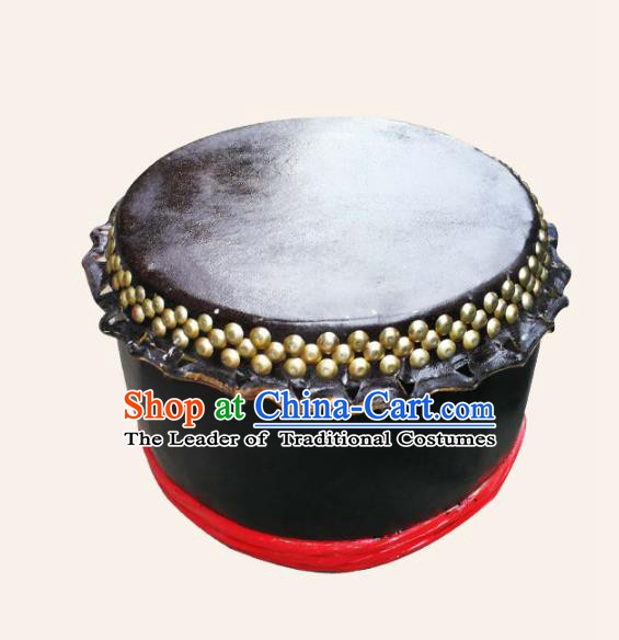 China Traditional Lion Dance Instruments Cowhide Black Drum Lion Leather Wood Drums