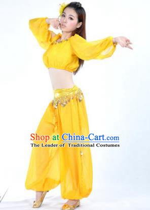Traditional Bollywood Dance Performance Yellow Clothing Indian Dance Belly Dance Costume for Women