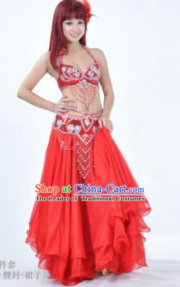 Traditional Indian Bollywood Belly Dance Red Dress India Oriental Dance Costume for Women