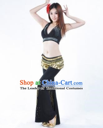 Traditional Performance Bollywood Dance Black Uniforms Indian Belly Dance Costume for Women