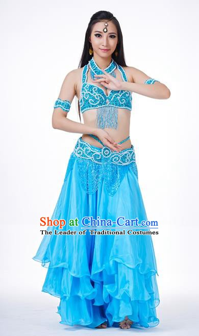 Traditional Oriental Dance Costume Indian Belly Dance Blue Dress for Women