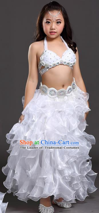 Traditional Children Oriental Dance Costume Indian Belly Dance White Dress for Kids