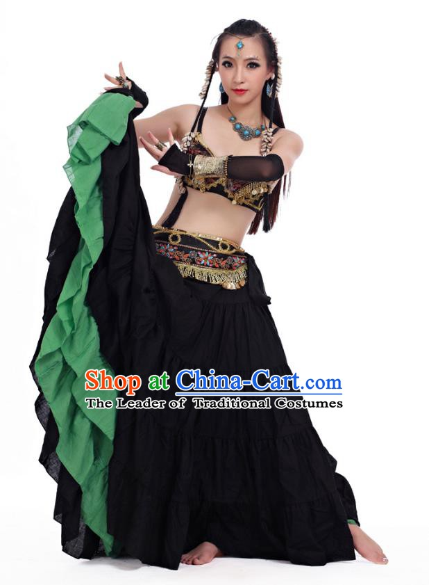 Traditional India Oriental Bollywood Dance Costume Indian Belly Dance Black Dress for Women