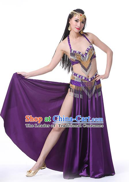 Indian Traditional Oriental Bollywood Dance Purple Dress Belly Dance Sexy Costume for Women