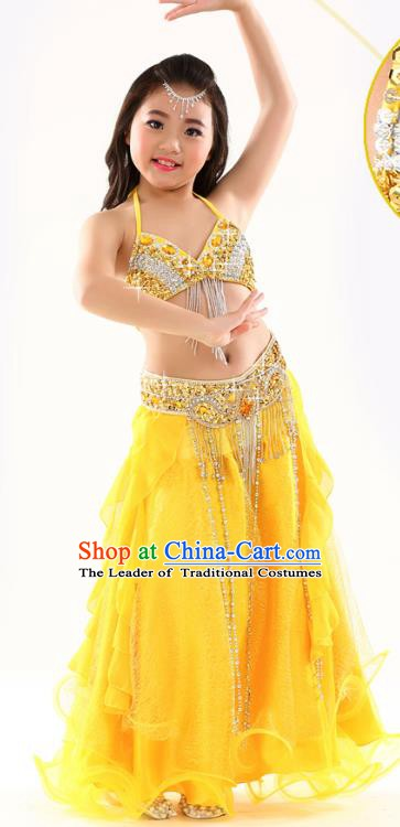 Indian Traditional Stage Performance Dance Yellow Dress Belly Dance Costume for Kids