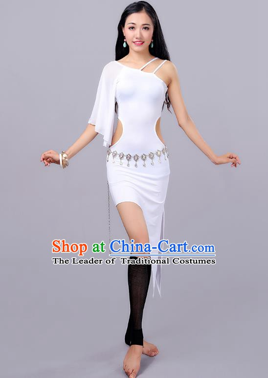 Traditional Indian Stage Performance Dance White Dress Belly Dance Costume for Women