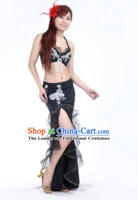 Traditional Indian Stage Oriental Dance Black Dress Belly Dance Costume for Women