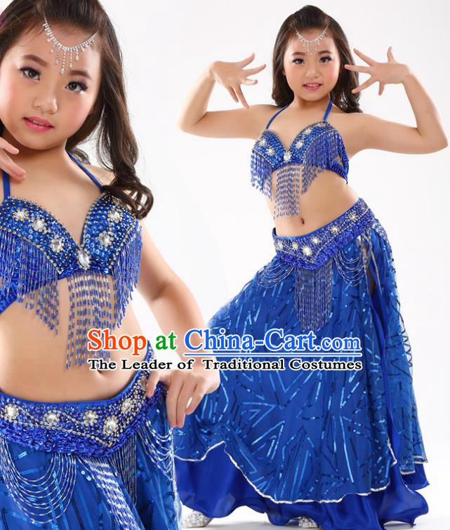 Traditional Indian Children Oriental Dance Royalblue Dress Belly Dance Costume for Kids