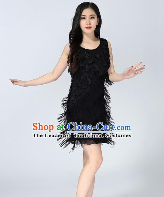 Top Grade Latin Dance Black Tassel Short Dress Modern Dance Ballroom Dance Performance Costume for Women