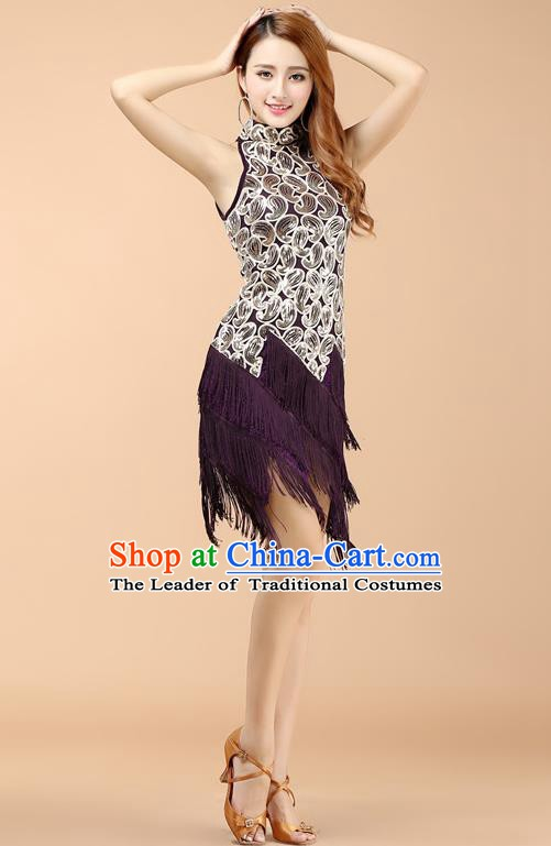 Classical Latin Dance Purple Tassel Dress Ballroom Dance Modern Dance Costume for Women
